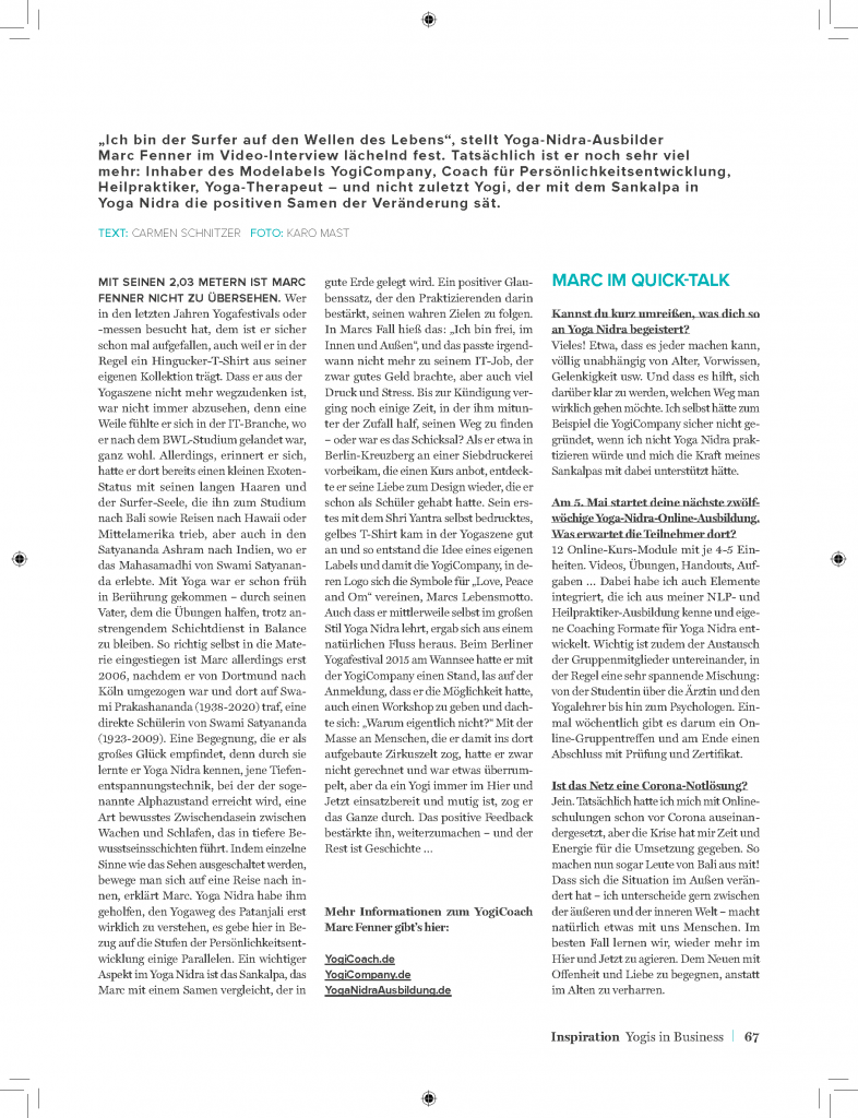 Interview Yoga Journal Seite 2 Marc Fenner YogiCoach Yoga Nidra Ausbilder