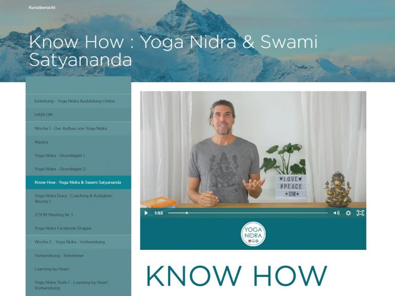 Yoga Nidra Ausbildung Online Portal Woche 1